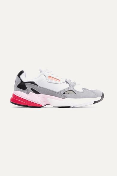 sale retailer ea494 f9ef0 Adidas Originals Falcon Mesh, Suede And Leather Sneakers