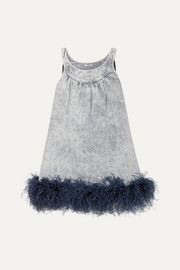 Miu Miu Feather-trimmed embroidered denim mini dress