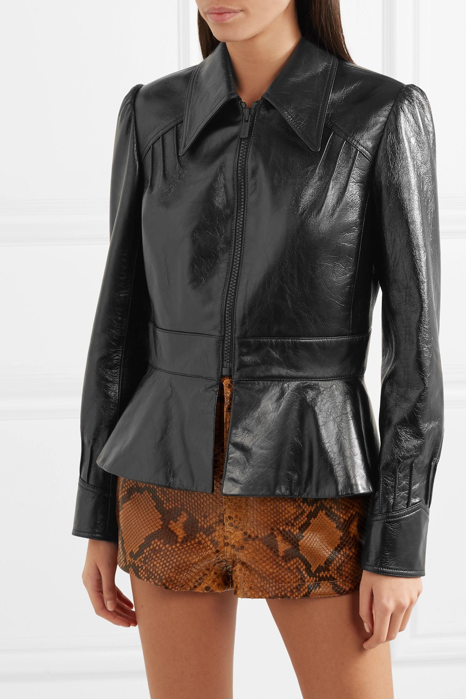 Miu Miu Glossed-leather peplum jacket