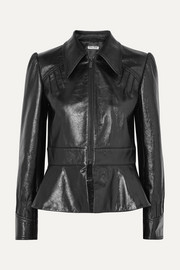 Miu Miu Glossed-leather peplum jacket