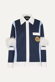 Miu Miu Feather-trimmed color-block neoprene jacket