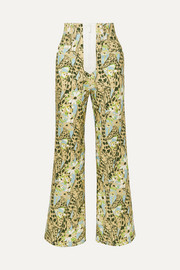 Printed high-rise wide-leg jeans