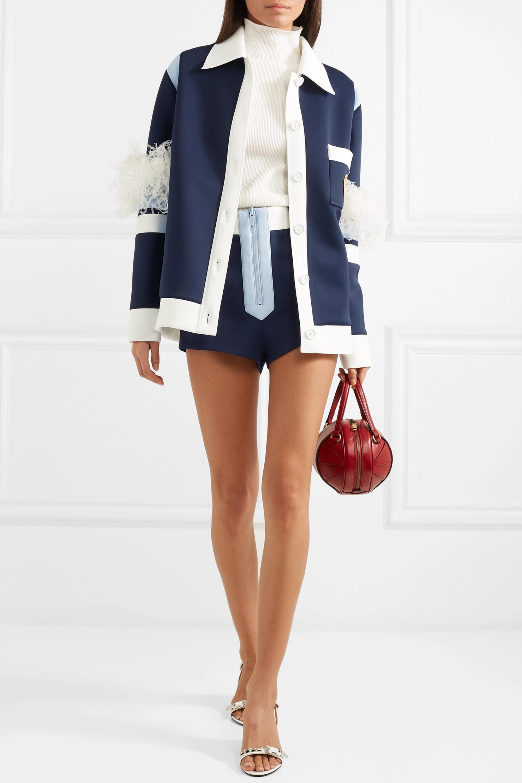 Miu Miu Color-block neoprene shorts