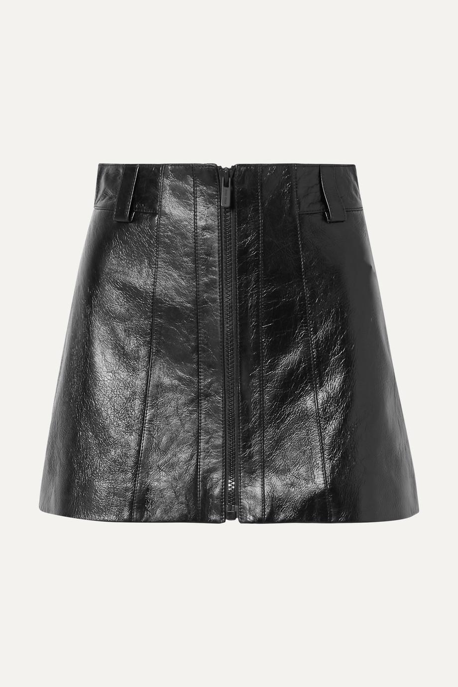 Miu Miu Crinkled glossed-leather mini skirt