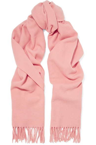 Canada Narrow Fringed Wool Scarf in Pink