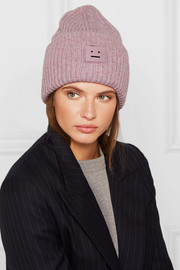 Pansy appliquéd ribbed wool-blend beanie
