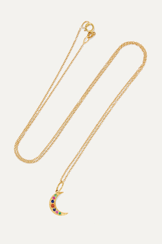 Andrea Fohrman Crescent Moon 18-karat gold, sapphire and emerald necklace