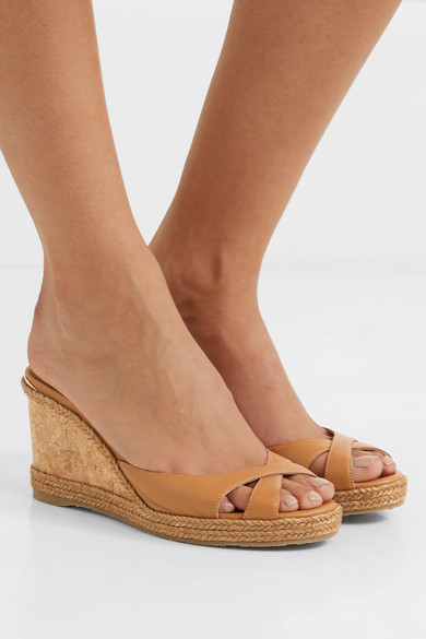 Jimmy Choo Sandals Almer 80 leather and raffia wedge sandals