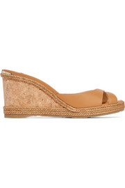 Almer 80 leather and raffia wedge sandals