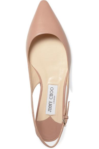 Jimmy Choo Shoes Erin leather slingback point-toe flats