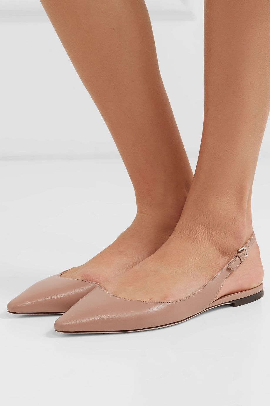 Jimmy Choo Erin leather slingback point-toe flats