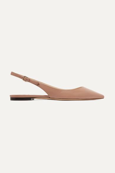 55e7021f391 Jimmy Choo. Erin leather slingback point-toe flats