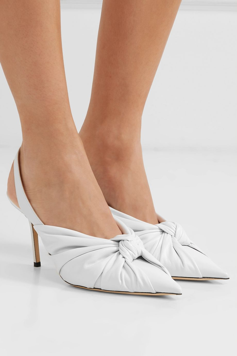 Jimmy Choo Annabell 85 knotted leather slingback pumps