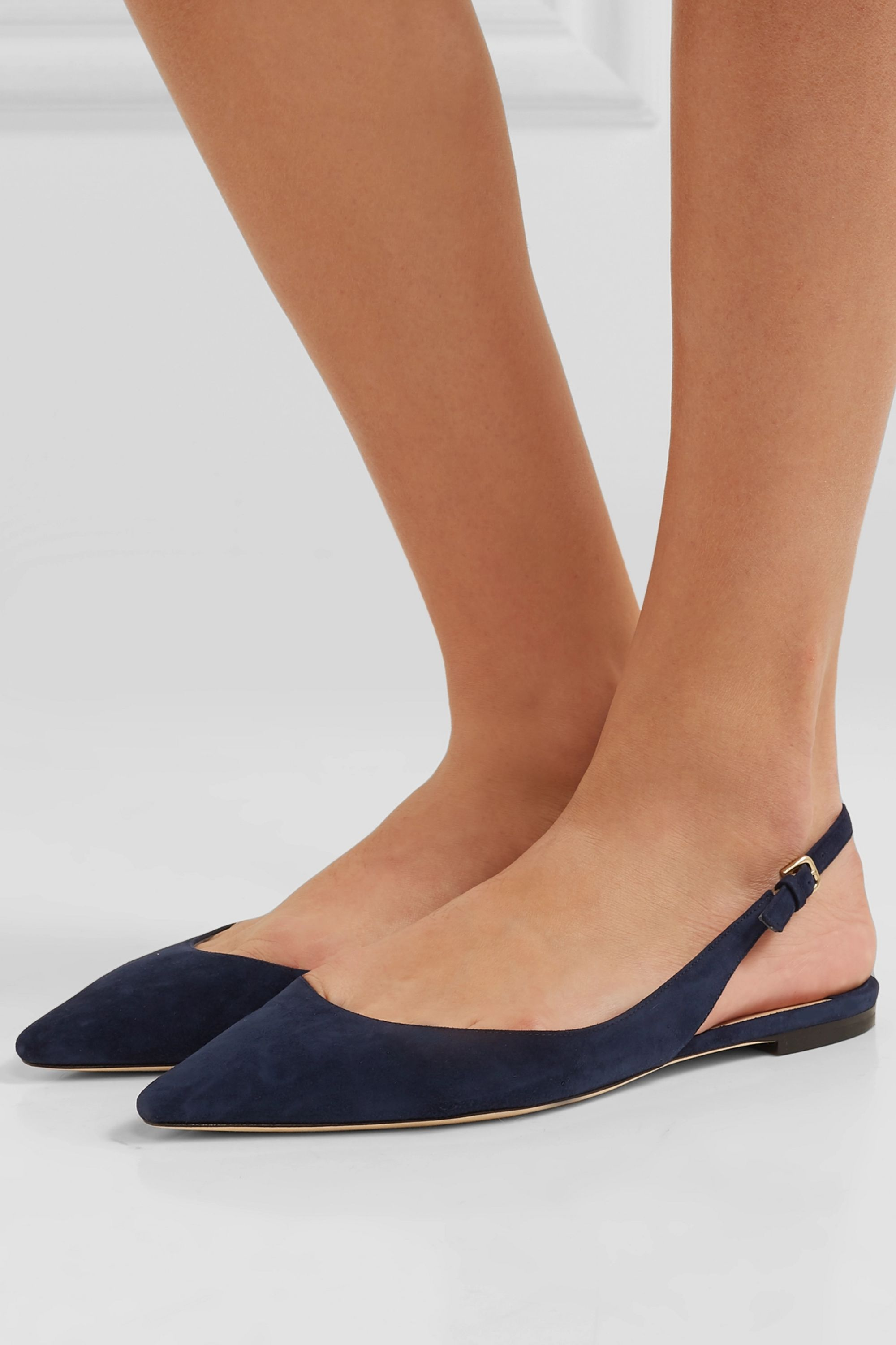 Jimmy Choo Erin suede slingback point-toe flats