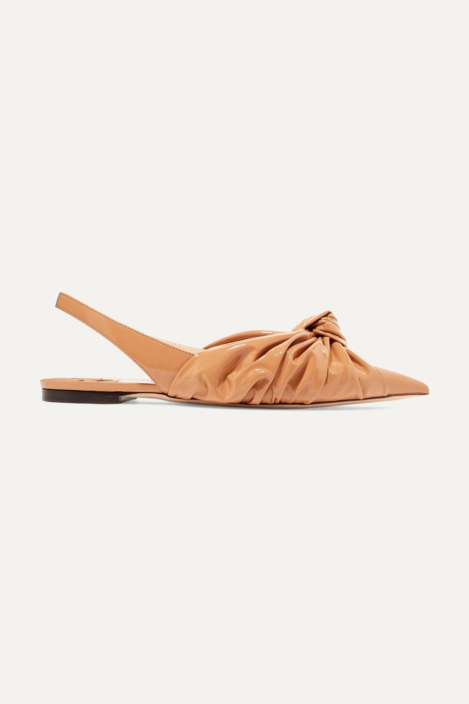 Jimmy Choo Annabel knotted patent-leather slingback point-toe flats