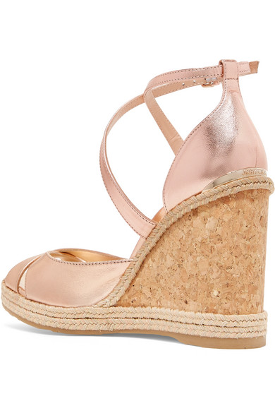 a3d2aa5e7e4 Jimmy Choo. Alanah 105 metallic leather espadrille wedge sandals.  575.  Zoom In