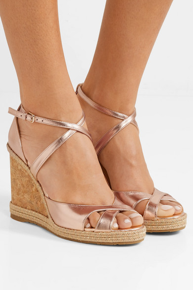 1a845c034e1 Jimmy Choo | Alanah 105 metallic leather espadrille wedge sandals ...