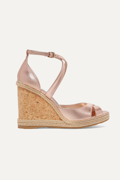 ef2e1dcbab0 Jimmy Choo. Alanah 105 metallic leather espadrille wedge sandals
