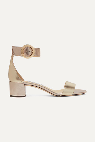 Jaimie 40 Metallic Leather Sandals by Jimmy Choo