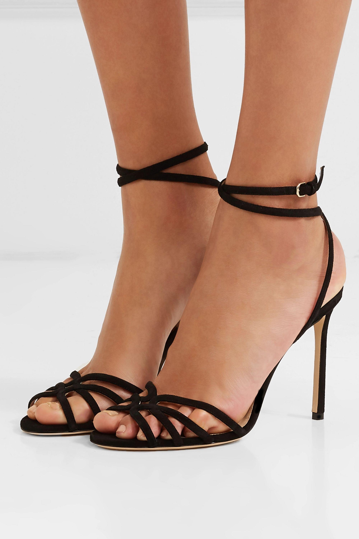 Black Mimi 100 suede sandals | Jimmy