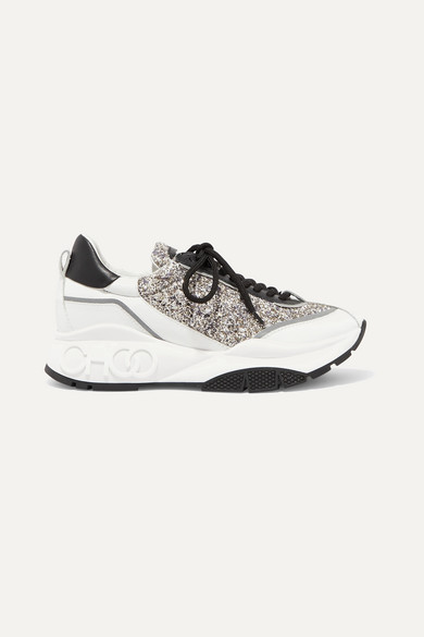 JIMMY CHOO | Jimmy Choo - Raine Glittered And Smooth Leather Sneakers - Silver | Goxip