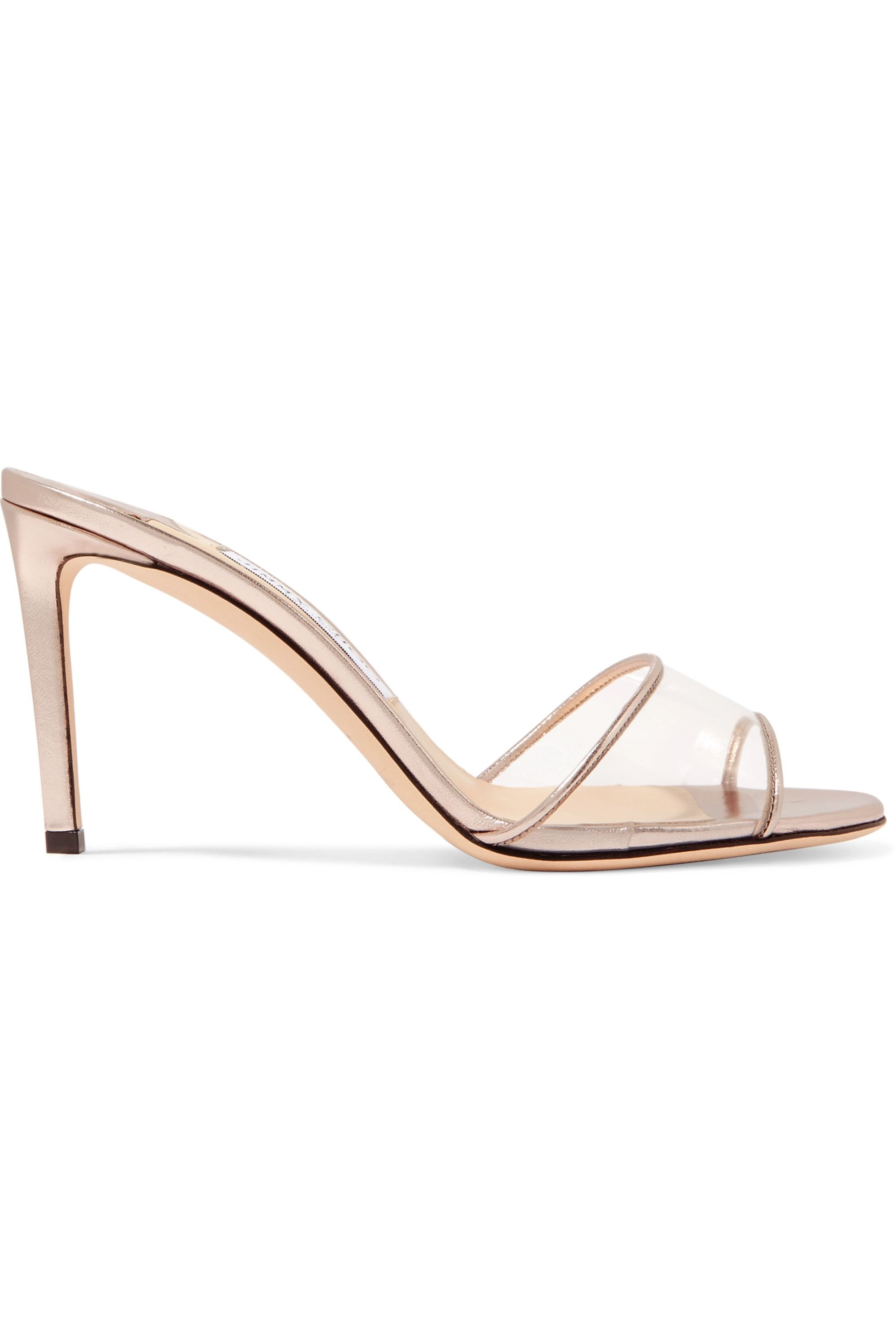 Jimmy Choo Stacey 85 metallic leather and PVC mules