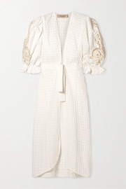 Porto broderie anglaise-trimmed cotton-jacquard robe
