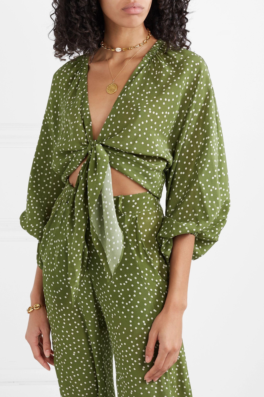 Adriana Degreas Millie Punti tie-detailed polka-dot silk crepe de chine blouse