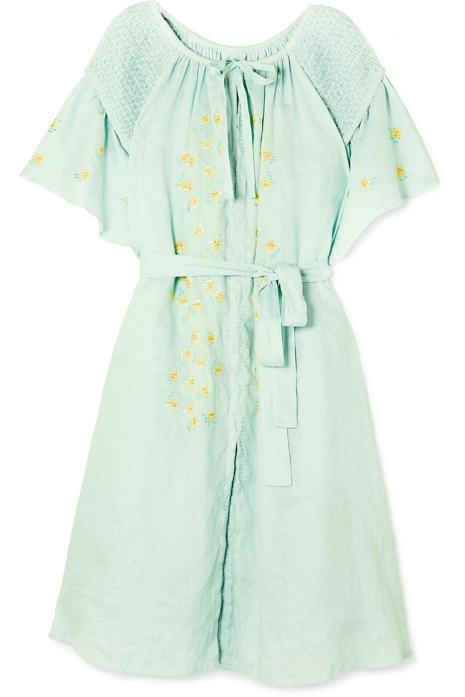 81059288cbb Innika Choo Hugh Jesmok smocked embroidered linen dress