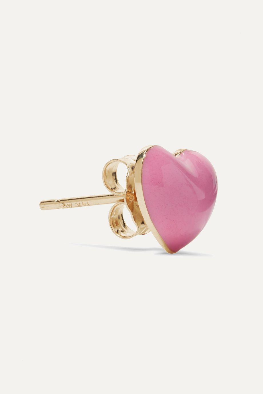 Alison Lou Pink Heart 14-karat gold and enamel earring