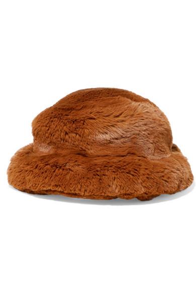 Faux Fur Bucket Hat in Tan