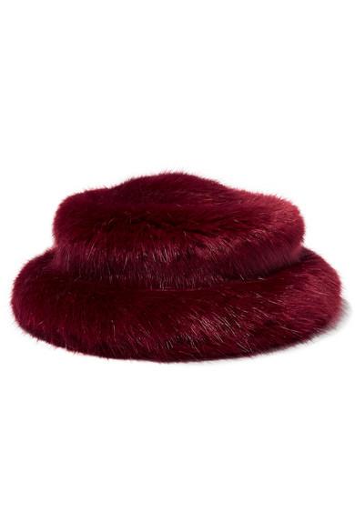 Faux Fur Bucket Hat in Burgundy