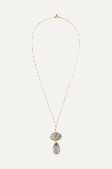 PIPPA SMALL 18-Karat Gold Agate Necklace
