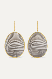 Pippa Small 18-karat gold agate earrings