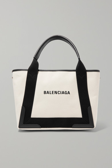 Balenciaga Totes Cabas small leather-trimmed canvas tote