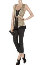 EdunBead-embellished silk-chiffon vest