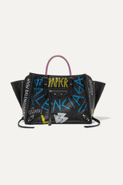 Papier ZA A6 Graffiti printed textured-leather tote