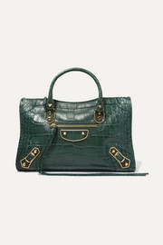 Classic City small croc-effect leather tote