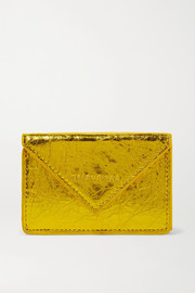 Balenciaga Paper mini printed metallic crinkled-leather wallet