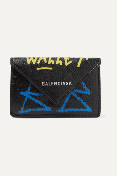 Balenciaga Wallets Papier mini printed textured-leather wallet