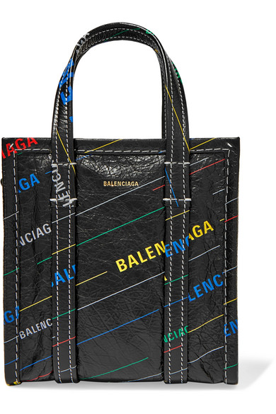 Bazar Xxs Printed Textured-Leather Tote in Black