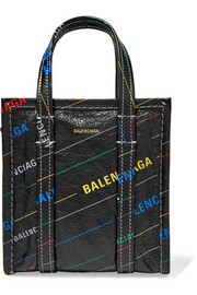 Balenciaga Bazar XXS printed textured-leather tote