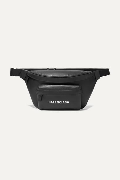 Balenciaga Everyday Logo Calfskin Leather Belt Bag - Black