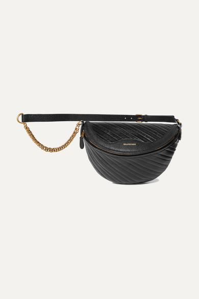 Balenciaga Souvenir Xs Aj Textured-leather Belt Bag In Black