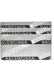 Balenciaga Everyday printed metallic textured-leather cardholder