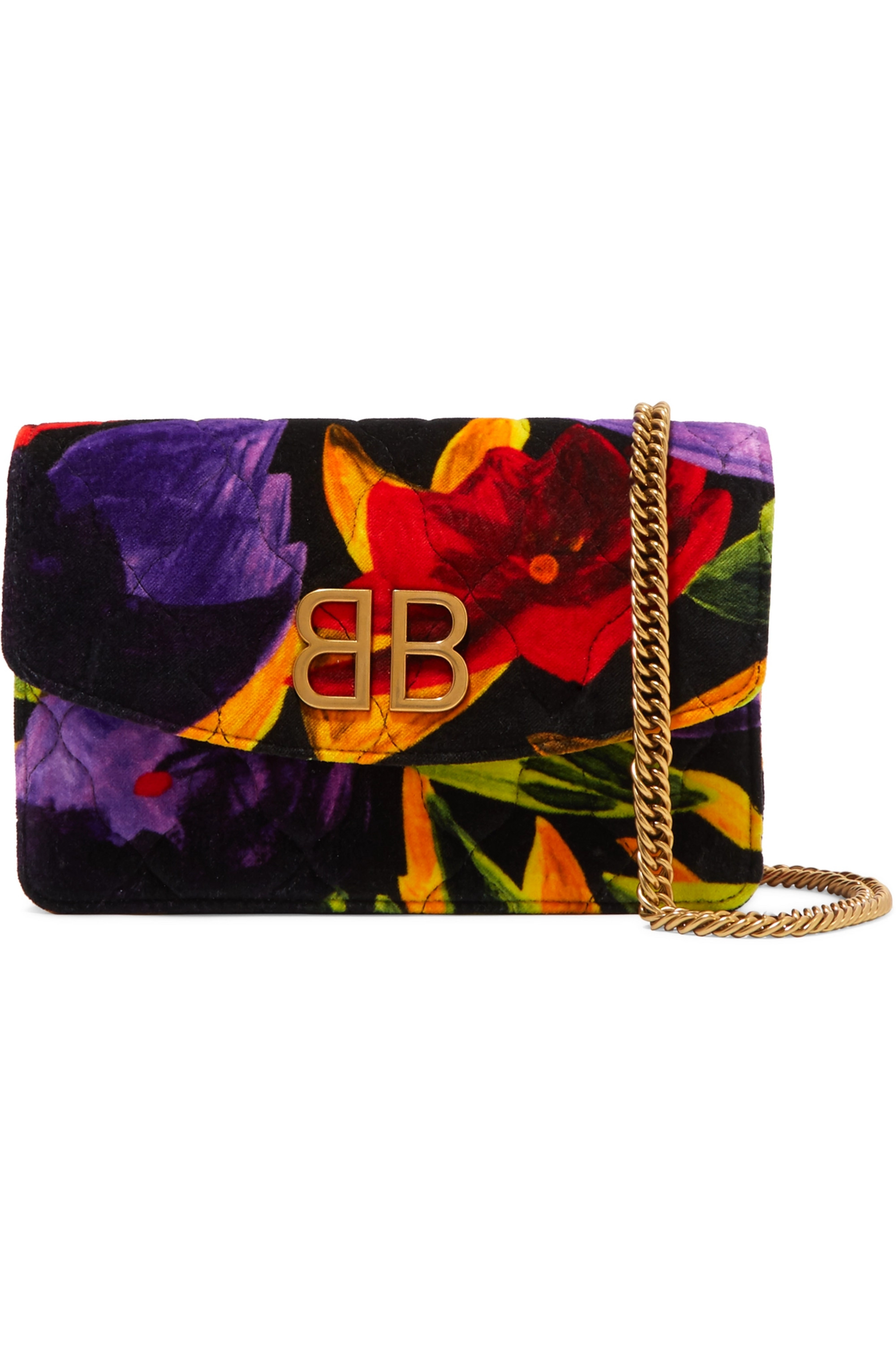 Red BB Chain quilted printed velvet