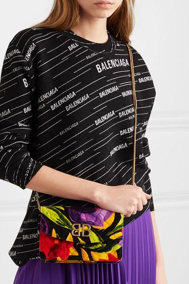 Balenciaga Shoulder BB Chain quilted printed velvet shoulder bag