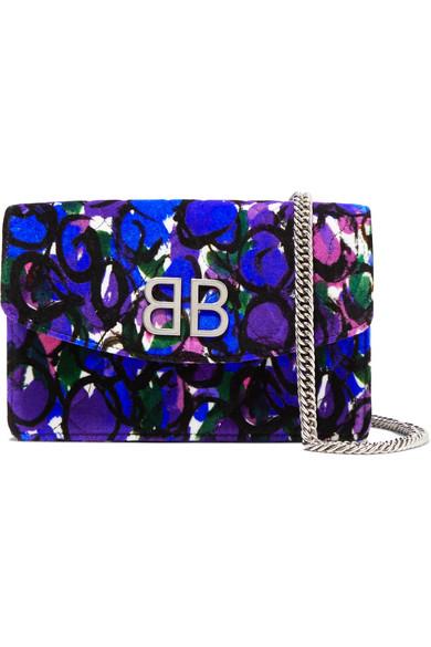 Balenciaga Shoulder BB Chain printed quilted velvet shoulder bag