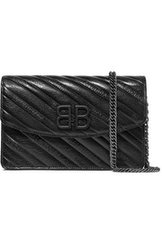 Balenciaga BB textured patent-leather shoulder bag