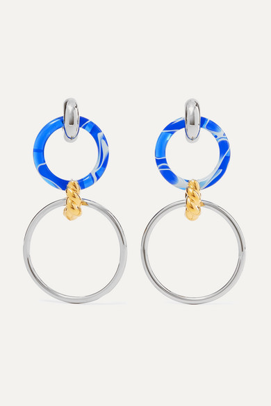 Silver Tone, Gold Tone And Resin Earrings by Balenciaga